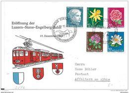 """61 - 52 - Enveloppe Suisse Avec Oblit Spéciale """"Eröffnung Der Luzern-Stans-Engelberg-Bahn 1964"""" - Eisenbahnen"""
