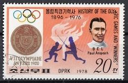 DPR Korea 1978 Sc. 1731 History Of Olympic Games & Winners Anversa 1920  Scherma - Olympic Games
