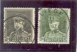 1931BELGIQUE Y & T N° 322A ( O ) Les 2 Timbres ( Un Brun- Noir Et L' Autre Gris Vert ) - Errors And Oddities