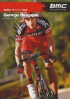 CARTE CYCLISME GEORGE HINCAPIE SIGNEE TEAM BMC 2011 - Cyclisme