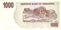 Zimbabwe P.44 1000 Dollars 2007    Unc - Zimbabwe