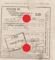 SPA 1907 Bulletin De Pesage /  Gare ( Station ) De Spa - Old Paper