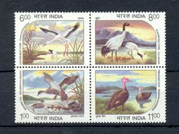 INDIA 1994 WATER BIRDS WITHDRAWN BLOCK OF 4V STAMPS VERY RARE EXTRA FINE CONDITION POST OFFICE FRESH GUM MNH - India