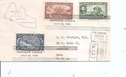 Libéria ( FDC De 1940 Voyagéen Recommandé Vers Les USA à Voir) - Liberia