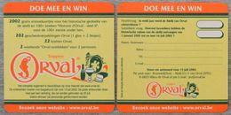 Sous-bock Trappiste ORVAL Doe Mee En Win 2002 Bierdeckel Bierviltje Coaster (CX) - Beer Mats