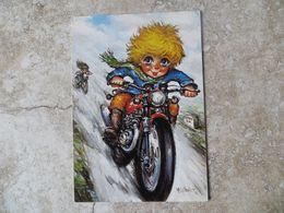 CPM Illustrateur Pascal Thomas Les Petits 100/18 Randonnée Enfants à Moto 1989 Flamme Montbard - Thomas