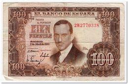 SPAIN,100 PESETAS,1953(1955),P145.,aVF - [ 3] 1936-1975 : Regency Of Franco