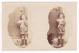 Très Belle Carte Photo Dune Fillette Avec Un Beau Chien Et La Même Avec Chien En Peluche Le 19 Septembre 1915 - Photographs
