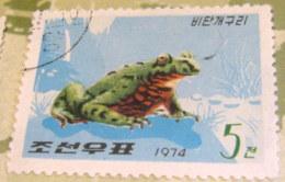 North Korea 1974 Frogs Bombina Orientalis 5 Ch - Used - Corea Del Nord