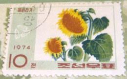 North Korea 1974 Oil Producing Plants Helianthus Annuus 10 Ch - Used - Corea Del Nord