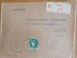 SAINTES - Recommandé - 23 Janvier 1938 - Marque Très Très Légère - Charente - Marcophilie (Lettres)