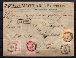 Nr 58 + 61 + 65 Op ASSURE Brief Van BRUXELLES NORD Naar PARIS  04 Oct 1901 (verso Brief Lakstempels MOTTART) - 1893-1900 Fine Barbe