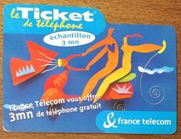 TICKET TÉLÉPHONE ÉCHANTILLON 3MN EXP LE 31/12/2000 PRÉPAYÉE PREPAID PHONE CARD - Frankreich