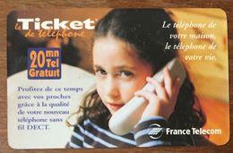 TICKET TÉLÉPHONE FIL DECT 20MN EXP LE 15/02/2000 PRÉPAYÉE PREPAID PHONE CARD - Frankreich