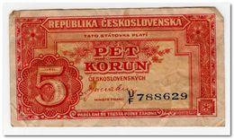 CZECHOSLOVAKIA,5 KORUN,1945,P.59,aVF - Czechoslovakia