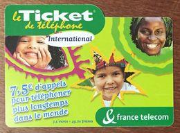 TICKET TÉLÉPHONE INTERNATIONAL 7,5 EURO EXP LE 30/11/04 PRÉPAYÉE PREPAID CARTE TÉLÉPHONIQUE - Frankreich