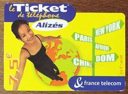 ALIZÉS TICKET TÉLÉPHONE 7,5 EURO EXP LE 30/06/2004 PRÉPAYÉE PREPAID CARTE TÉLÉPHONIQUE À CODE - Frankreich