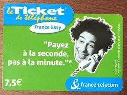 FRANCE EASY VERT TICKET TÉLÉPHONE 7,5 EURO EXP LE 28/02/2005 PRÉPAYÉE PREPAID CARTE TÉLÉPHONIQUE À CODE - Frankreich