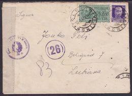 Tolmin, 1943, Express Cover Mailed To Province Of Ljubljana, Censored - Eslovenia