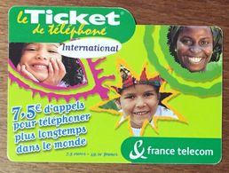 TICKET TÉLÉPHONE INTERNATIONAL 7,5 EURO EXP LE 30/04/2004 PRÉPAYÉE PREPAID CARTE TÉLÉPHONIQUE - Frankreich