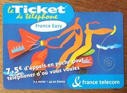 FRANCE EASY TICKET TÉLÉPHONE 7,5 EURO EXP LE 31/05/2004 PRÉPAYÉE PREPAID CARTE TÉLÉPHONIQUE À CODE - Frankreich