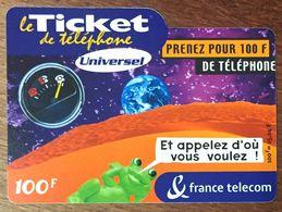 TICKET TÉLÉPHONE UNIVERSEL 100 FRANCS EXP LE 31/07/2003 PRÉPAYÉE PREPAID CARTE TÉLÉPHONIQUE À CODE - Frankreich