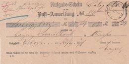 Bayern / 1878 / Ausgabe-Schein Zu Post-Anweisung K1 VOLKACH (BN13) - Bayern