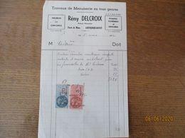 LOUVIGNIES-BAVAY REMY DELCROIX TRAVAUX DE MENUISERIE EN TOUS GENRES FACTURE DU 1er MARS 1950 TIMBRES FISCAUX - France