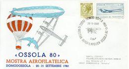 """Italia, Special Cover 1980 Domodossola Mostra Aerofilatelica """"ossola 80"""". - Transport"""