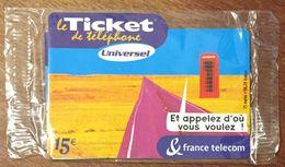 TICKET TÉLÉPHONE UNIVERSEL 15 EURO NEUF SOUS BLISTER PRÉPAYÉE PREPAID CARTE TÉLÉPHONIQUE - Frankreich