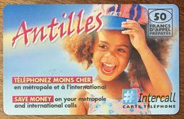 ANTILLES INTERCALL 50 FRANCS EXP LE 31/12/2002 PRÉPAYÉE PREPAID CARTE À CODE PHONECARD CARD - Antilles (Françaises)