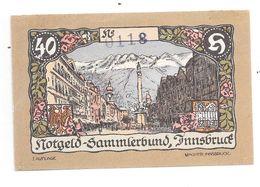 **notgeld   Austria Innsbruck  40 Heller 412/1g Catalog Val 4,00 Euro - Austria