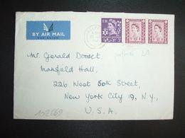 LETTRE Pour USA TP 6d X2 + TP 3d (3 TP Perforés LA) OBL.MEC.25 JLY 1963 BELFAST - Regional Issues