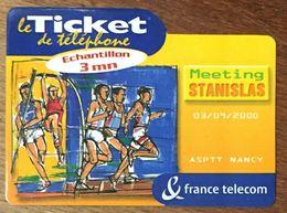 MEETING STANISLAS ASPTT NANCY TICKET TÉLÉPHONE ÉCHANTILLON 3MN EXP LE 30/10/2000 SANS CODE PRÉPAYÉE PREPAID PHONE CARD - Frankreich