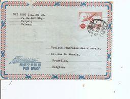 Taiwan -Formose ( Aérogramme De 1958 De Taipei Vers La Belgique à Voir) - Lettres & Documents