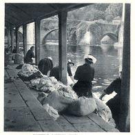QUIMPERLE Laveuses Auprès Du Pont Fleuri  1944 - Old Paper