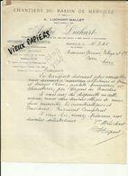 59 - Nord - Merville - Constructions De Bateaux -Facture   André Luchart - Bois - Scierie  -1945-Réf.42 - - France