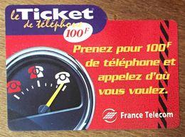 TICKET TÉLÉPHONE COMPTEUR 100F EXP LE 31/12/2000 PRÉPAYÉE PREPAID CARTE TÉLÉPHONIQUE - Frankreich