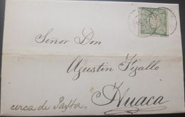 O) 1869 PERU, COAT OF ARMS 1d Green, TO HUACA - CERCA PAYTA - PAITA, XF - Perú