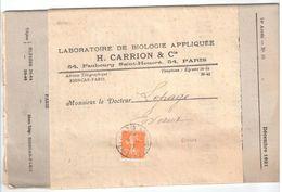 PARIS RP PERIODIQUES 5c Semeuse Orange Yv 158 Sur Bande Revue Biologie CARRION Ob 1922 Dest Evaux Creuse - Covers & Documents