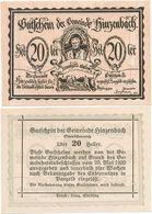 Hinzenbach Bei Linz, 1 Schein Notgeld 1920, Bauer Pflug, Österreich 20 Heller - Austria