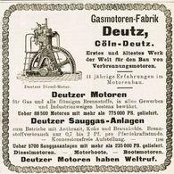 Original-Werbung/ Anzeige 1908 - GASMOTOREN-FABRIK DEUTZ - CÖLN-DEUTZ (KÖLN) -ca. 100 X 100 Mm - Advertising