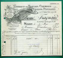 79 Niort Fragnaud Aimé Fabrique De Blouse Chemises Vestons Pantalons 7 Mai 1927 - Textile & Clothing