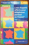FRANCE TICKET TÉLÉPHONE MA LIGNE 5MN EXP LE 05/09/2004 PRÉPAYÉE PREPAID PHONE CARD - Frankreich