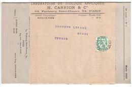 PARIS RP PERIODIQUES 5c Blanc Vert T2 Yv 111 Sur Bande Revue Biologie CARRION Ob 1922 Dest Evaux Creuse - Covers & Documents