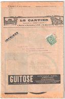 15c Semeuse Lignée Vert Yv 130 Ob 1922 Sur Bande Revue Médicale Hypotenseur GUITOSE Le Cartier Dest Evaux Creuse - Covers & Documents