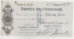 1925 CHEQUE BANQUE DE L'INDOCHINE AGENCE DE PEKIN  N14 - Chèques & Chèques De Voyage