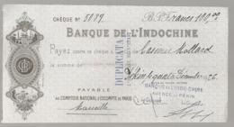 1926 CHEQUE BANQUE DE L'INDOCHINE AGENCE DE PEKIN  N14 - Chèques & Chèques De Voyage