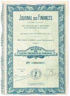 Titre Ancien - Journal Des Finances - Société Anonyme - Titre De 1925 - - Industrie