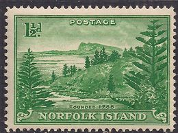 Norfolk Island 1947 KGV1 1 1/2d Emerald Green MM SG 3 ( J736 ) - Isla Norfolk